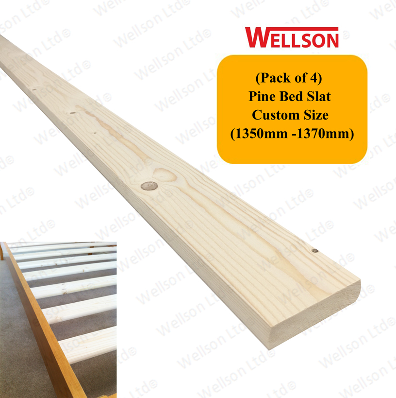 4ft6 Bed Solid Pine Slats Pack Of 4 Wellson
